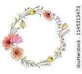 wreath with wildflores and... | Shutterstock .eps vector #1145313473
