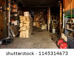 interior of a rural barn with a ... | Shutterstock . vector #1145314673