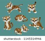 various cartoon tiger set. cute ... | Shutterstock .eps vector #1145314946