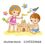 girl and a boy are building a... | Shutterstock .eps vector #1145324666