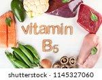 foods with vitamin b5 ... | Shutterstock . vector #1145327060