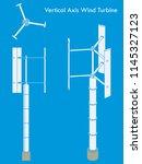 vertical axis wind turbine.... | Shutterstock .eps vector #1145327123