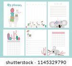 cute set of weekly planner and... | Shutterstock .eps vector #1145329790
