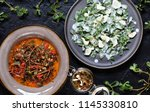 dish of purslane. potulak... | Shutterstock . vector #1145330810