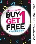 buy 1 get 1 free  sale poster... | Shutterstock .eps vector #1145332466