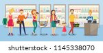 customers in big queue at cash... | Shutterstock .eps vector #1145338070