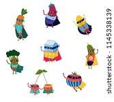 cartoon fruit and vegetables... | Shutterstock .eps vector #1145338139