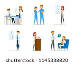 set of cute doctor and nurse... | Shutterstock .eps vector #1145338820