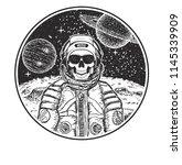 astronaut music skull hand... | Shutterstock . vector #1145339909