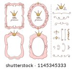 set of cute doodle mirrors.... | Shutterstock .eps vector #1145345333