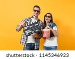 young laughing couple woman man ... | Shutterstock . vector #1145346923