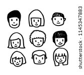 people face icon hand draw | Shutterstock .eps vector #1145347883