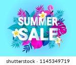 summer sale banner typography... | Shutterstock .eps vector #1145349719