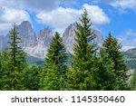plattkofel and langkofel... | Shutterstock . vector #1145350460
