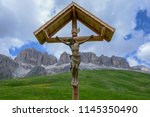 dolomites at pordoi pass in val ... | Shutterstock . vector #1145350490
