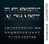 futuristic alphabet font.... | Shutterstock .eps vector #1145350703