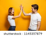 image of friendly young people... | Shutterstock . vector #1145357879