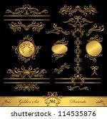 golden set calligraphic and... | Shutterstock .eps vector #114535876