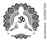 Meditating Human In Lotus Pose. ...
