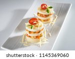 palm pupunha bruschetta with... | Shutterstock . vector #1145369060