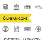 finance icons set with dollar ...
