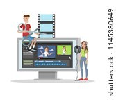 video editing. people create... | Shutterstock .eps vector #1145380649