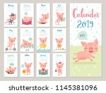 calendar 2019. cute monthly... | Shutterstock .eps vector #1145381096