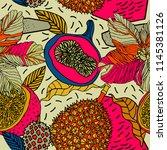 beach cheerful seamless pattern ... | Shutterstock .eps vector #1145381126
