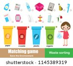 matching game for kids.... | Shutterstock .eps vector #1145389319