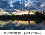 twilight sky and countryside... | Shutterstock . vector #1145394620
