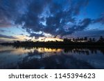 twilight sky and countryside... | Shutterstock . vector #1145394623