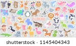 big set of cute cartoon animal... | Shutterstock .eps vector #1145404343