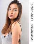 happy natural makeup latina...   Shutterstock . vector #1145408573