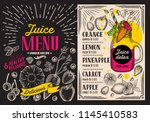 juice smoothie menu for... | Shutterstock .eps vector #1145410583