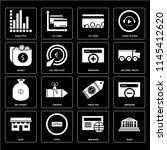 set of 16 icons such as bank ...