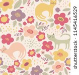 cute floral pattern with cats.... | Shutterstock .eps vector #1145416529