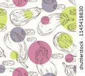 seamless pattern with eggplant  ... | Shutterstock .eps vector #1145418830