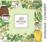 background with different soy...   Shutterstock .eps vector #1145418899