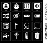 set of 16 icons such as garbage ...
