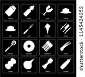 set of 16 icons such as mustard ...