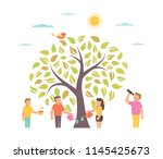 grow. illustration with tree.... | Shutterstock . vector #1145425673