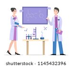 chemists in laboratory vector... | Shutterstock .eps vector #1145432396