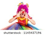 Happy Young Clown Girl On Whit...
