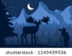 photographer photographs deer... | Shutterstock .eps vector #1145439536