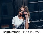 emotional portrait of fashion... | Shutterstock . vector #1145443799