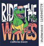 cool dinosaur surfing vector... | Shutterstock .eps vector #1145445779