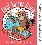 cool monkey surfing vector... | Shutterstock .eps vector #1145446859