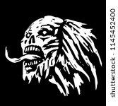 terrible demon head with tongue ... | Shutterstock .eps vector #1145452400