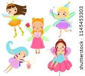 cute fairy set. beautiful girl...   Shutterstock .eps vector #1145453303