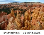 sharp towers in bryce canyon... | Shutterstock . vector #1145453606